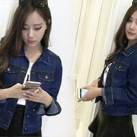 Jual Terlaris Jaket Nayla jeans  jaket wanita jeans wash biru tua Murah
