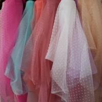 kain Organza dot/bahan gaun dan kerudung