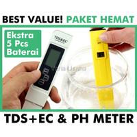 Paket Hemat PH TDS EC Meter Alat Ukur Keasaman PPM Salinitas Air LAR