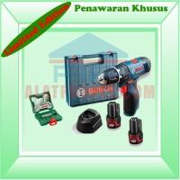 Bor Obeng Elektrik 2 Baterai Bosch GSB 1080 2 Li XLine 33Pcs