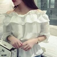 Jual Sabrina white blouse [Atasan Wanita Blouse 0147] QJX  Murah
