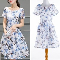 IMPORT FLower Blue Organza White Flare Dress Pesta Party Gaun Malam