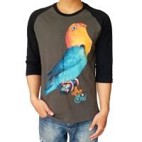 Bawara Kaos Burung Kicau Lovebird Parblue Raglan 3/4 Hijau Army Hitam