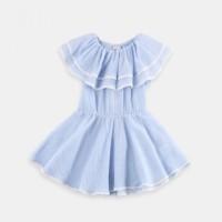 Jual DRS 0488 Baju Anak Import Cute Girl Dress Sabrina Layer Soft Blue Murah