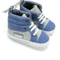 Sepatu Prewalker PW Anak Bayi Cowok Laki Keds Sport Boot Biru Abu Tali