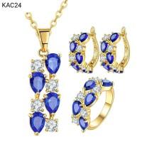Jual Set Perhiasan Hypoallergenic Lapis Emas 18K Batu Cubic Zirconia KAC24 Murah