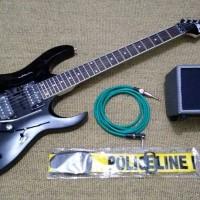 Gitar Ibanez RG 320 hitam + ampli + kabel jack + strap