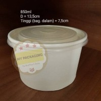 Paper Bowl/Mangkuk Sup/Sup Bowl/Mangkuk Makan 850ml+TUTUP (per 50pcs)