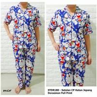 Setelan Baju Wanita Piyama Baju Tidur Kancing Depan Blue Dora