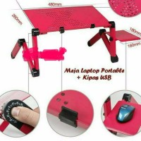 Laptop table with cooling fan Meja laptop portable aluminium pink