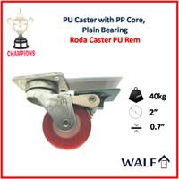 Roda Caster PU / Polyurethane (Roda Brake / Rem) 2 Inch | 2081-50