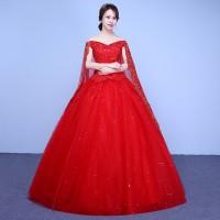 1711014 Merah Sabrina Sayap Gaun Pengantin Wedding Gown Wedding Dress