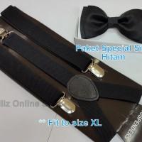 Paket Special Color - Suspender/Bretel Dewasa (Fit XL) + Dasi Kupu2
