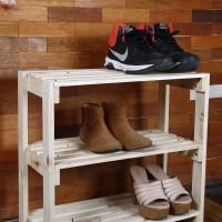 Rak sepatu kayu serbaguna