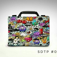 "Doodle Art Full colour 13"" -14 inch softcase tas laptop notebook unik"