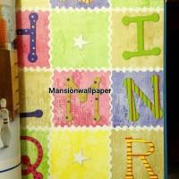 Wallpaper Dinding Sale Motif Anak Huruf Warna Ceria