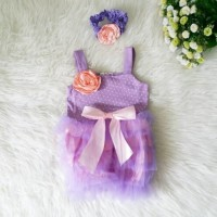 Baju Pesta Bayi Perempuan Dress Ungu anak 10 11 13 14 15 bulan 1 tahun