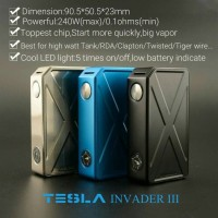 Limited Vape Vaporizer TESLA INVADER 3 AUTHENTIC 240 WATT mod only no