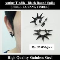 Anting Tindik Cowok Pria - Black Round Spike / Anting Duri Hitam