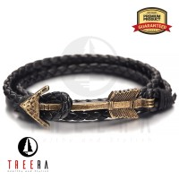Jual Gelang Kulit Pria 3 Layer Jangkar Premium Anchor Bracelet Murah