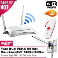 Paket Hotspot WIFI MR3420 + Modem Huawei K4511 3G + Antena Yagi TXR185