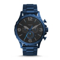 Jam Tangan Pria Fossil JR1530 Nate Chronograph Blue Stainless Steel