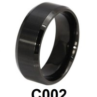 Cincin Single Titanium Hitam Polos Wide Lebar C002