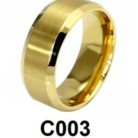 Cincin Single Titanium Emas Polos Wide Lebar C003