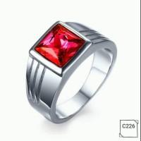 harga Cincin Pria Titanium Lapis Emas Putih 18k Batu Cz Ruby Red C226 Tokopedia.com