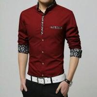 slim fit baju pria hem atasan laki laki kombinasi batik polos kantor
