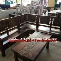 Kursi Tamu Sudut Trembesi (furniture, sofa, nakas, lemari, meja)