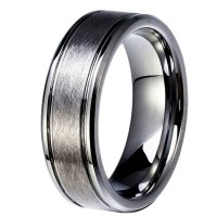 Tungsten Wedding Ring 8mm Brushed Male