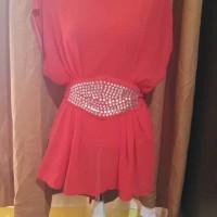 Jual Atasan blouse chiffon merah manik2 Murah