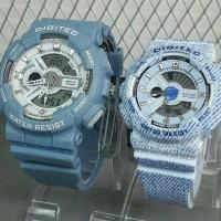 Jam Tangan Sport Couple Digitec 2115/2114 Original DoubleTime Blue sky