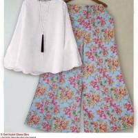 setelan baju muslim tunik blouse putih kulot celana panjang bunga