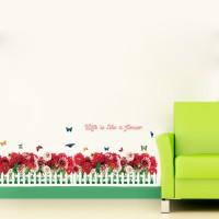 wall sticker 50x70/wallstiker SK7002 RED ROSES HEDGE