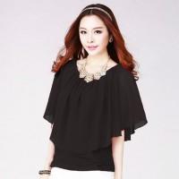 Jual Brenda   New Korean Style Blouse Chiffon Wanita Kombinasi Murah