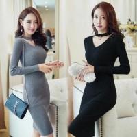 Hot Produk Dress Viva Mutiara Ro Dress Wanita Rajut Stret Hitam Dan