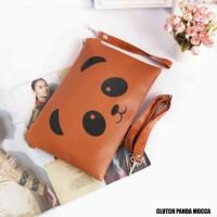 Jual Tas Wanita - Clutch Motif Panda Mocca Harga Murah Murah