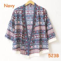 kardigan rumbai batik etnik bahan katun kimono style parang navy top