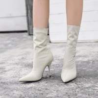 Soft Cream Stileto Heel Boots Import