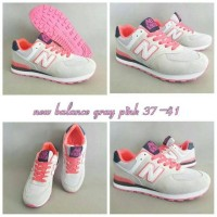 Sepatu NB New Balance 574 Gray Pink Women Sneakers GO Import.