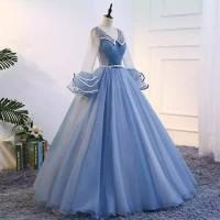 harga Gpl 20182 Gaun Pengantin Wedding Dress Lengan Panjang Biru Import Tokopedia.com