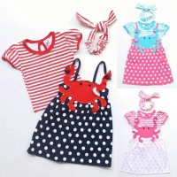 Setelan Dress Overall Anak Perempuan Cewek Kaos Garis Crab Bandana