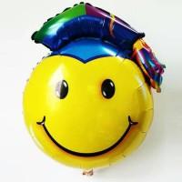 balon foil bulat smile dengan topi toga