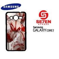 Casing Samsung Galaxy Core 2 White Red Tulips Custom Hardcase