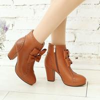 harga Sepatu Boot High Heels Ls09 Tan Tokopedia.com