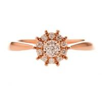 Tiaria 18K Rose Carnation Ring Perhiasan Emas Cincin Berlian
