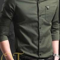 [Miller army OT] pakaian pria kemeja slim fit warna hijau army
