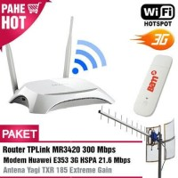 Paket Hotspot WIFI MR3420 + Modem Huawei E353 3G + Antena Yagi TXR185